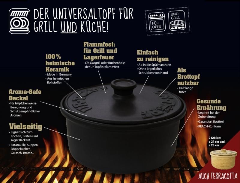 UR-TOPF® Classic, ø 24 cm, Basalt-Schwarz, Keramik-DutchOven