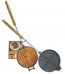 Chuckwagon Waffeleisen mit Stiel und Holzgriff