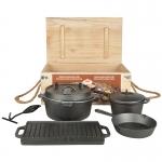 Dutch-Oven Set, 7-teiliges Outdoor Koch- und Grillset aus Gusseisen
